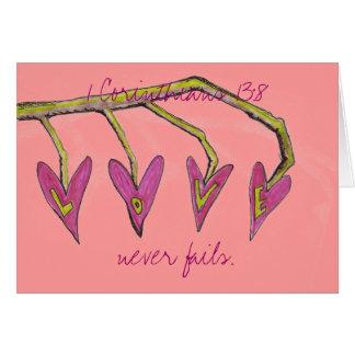 O amor nunca falha 1 núcleo. 13:8 cartão