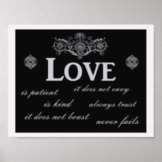 O amor nunca falha --- Impressão da arte