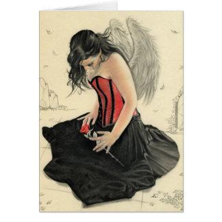 O amor nunca morre lamentar o cartão do anjo