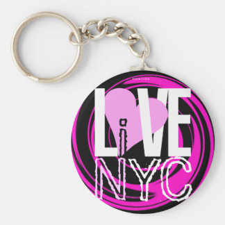 O amor NYC vive no rosa do chaveiro de NYC