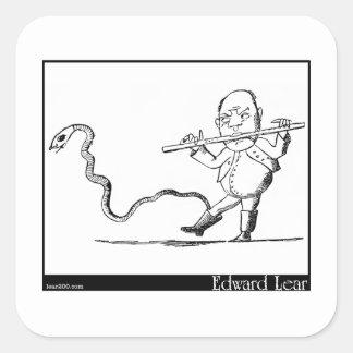 O ancião de Edward Lear com uma imagem da flauta Adesivo Quadrado