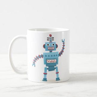 O android retro bonito do robô caçoa desenhos caneca de café