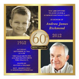 O aniversário adulto do ouro azul convida Then-Now Convite Quadrado 13.35 X 13.35cm