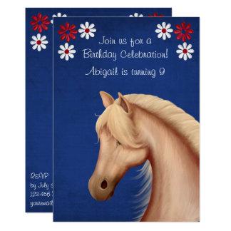 O aniversário azul branco vermelho do cavalo do convite 12.7 x 17.78cm