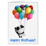 O aniversário Balloons o urso de panda Cartoes