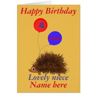 O aniversário bonito da sobrinha do ouriço cartão comemorativo