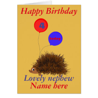 O aniversário bonito do sobrinho do ouriço cartão comemorativo