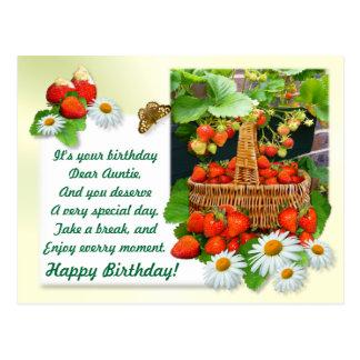 O Aniversário Cartão do ~ da cesta da morango do A Cartão Postal