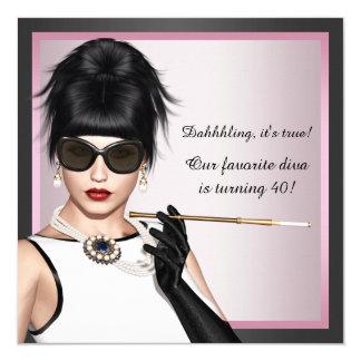 O aniversário cor-de-rosa e preto da mulher da convite quadrado 13.35 x 13.35cm