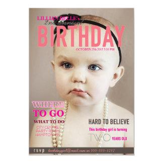 O aniversário customizável da menina convida a convite 12.7 x 17.78cm