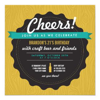 O aniversário da cerveja do artesanato convida convite quadrado 13.35 x 13.35cm