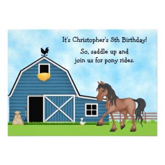 O aniversário da equitação dos passeios do pônei c convite personalizado