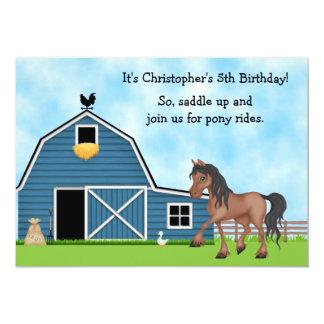 O aniversário da equitação dos passeios do pônei convite personalizado