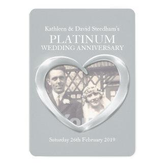 O aniversário da foto do coração do casamento da convite 12.7 x 17.78cm