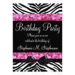 O aniversário da menina da zebra da faísca do rosa convite personalizado
