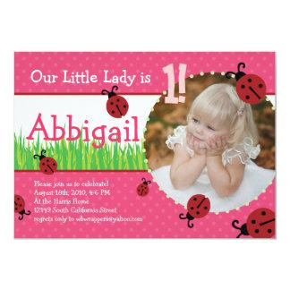 O Aniversário da senhora pequena - joaninhas Convite 12.7 X 17.78cm