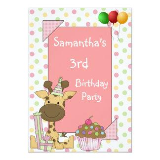 O aniversário de 3 anos mancha o rosa dos balões convite 12.7 x 17.78cm