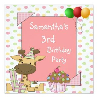 O aniversário de 3 anos mancha o rosa dos balões convite quadrado 13.35 x 13.35cm