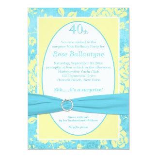 O aniversário de 40 anos amarelo azul IMPRESSO da Convite 12.7 X 17.78cm