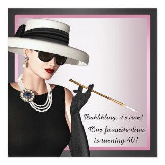 O aniversário de 40 anos cor-de-rosa e preto da convite quadrado 13.35 x 13.35cm