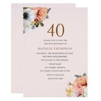 O aniversário de 40 anos floral do pêssego rústico convite 12.7 x 17.78cm