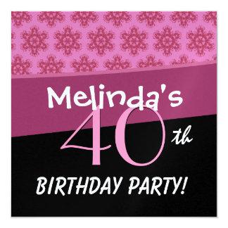 O aniversário de 40 anos para sua estrela do rosa convites personalizados