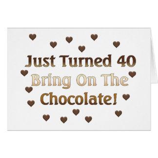 O aniversário de 40 anos significa o chocolate cartões