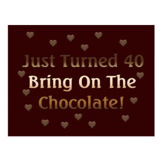 O aniversário de 40 anos significa o chocolate cartão postal