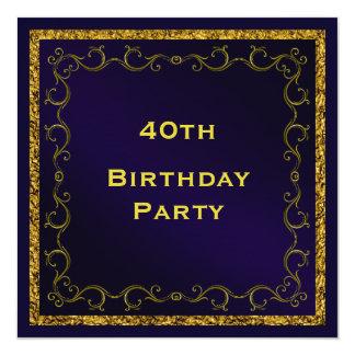 O aniversário de 40 anos tomado partido dobro do convite quadrado 13.35 x 13.35cm