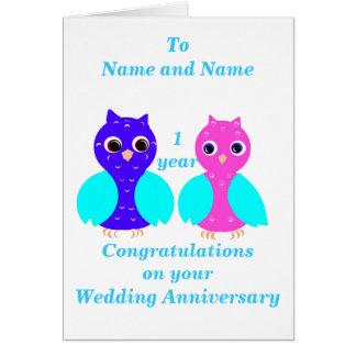 O aniversário de casamento do casal da coruja, cartão comemorativo