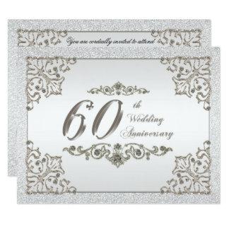O aniversário de casamento do diamante 60th do convite 10.79 x 13.97cm