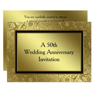O aniversário de casamento dourado clássico 5x7 convite 12.7 x 17.78cm