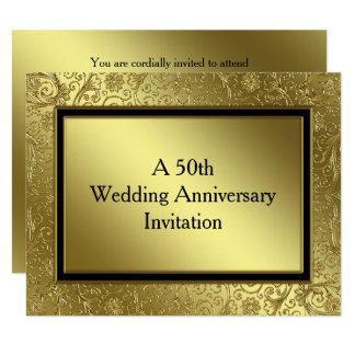 O aniversário de casamento dourado clássico convite 10.79 x 13.97cm