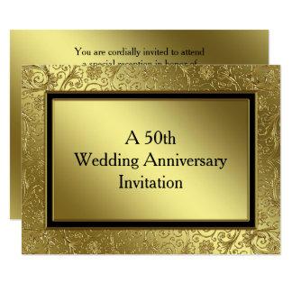 O aniversário de casamento dourado clássico convite 13.97 x 19.05cm