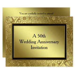 O aniversário de casamento dourado clássico convite 16.51 x 22.22cm