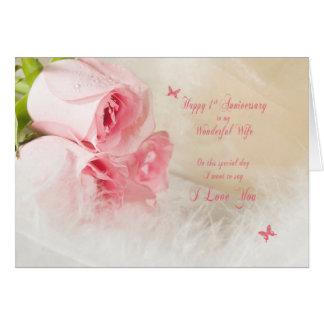 ø Aniversário de casamento para a esposa com rosas Cartão Comemorativo