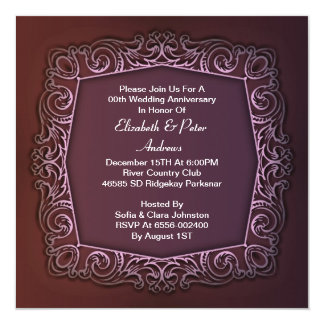 o aniversário de casamento roxo convida convite quadrado 13.35 x 13.35cm