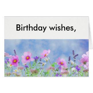 O aniversário deseja o cartão da flor