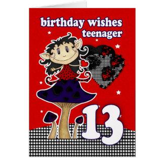 o aniversário deseja o cartão para o adolescente,
