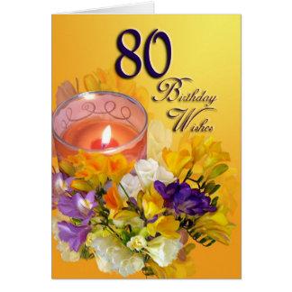 o aniversário do 80 deseja o cartão de aniversário