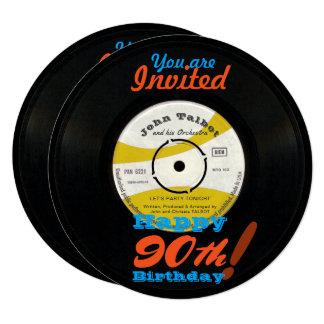 o aniversário do 90 convida o registro de vinil convite quadrado 13.35 x 13.35cm