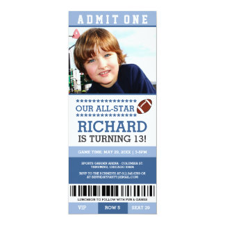 O aniversário do bilhete do futebol convida convite 10.16 x 23.49cm