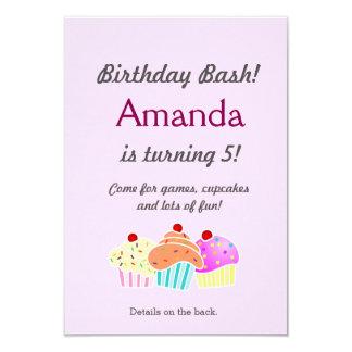 O aniversário do cupcake convida convite 8.89 x 12.7cm