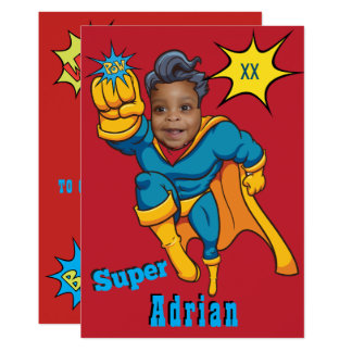 O aniversário do modelo da foto do super-herói de convite 12.7 x 17.78cm