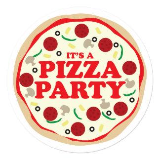 O aniversário do partido da pizza convida convite quadrado 13.35 x 13.35cm