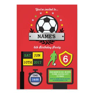 O aniversário do partido do futebol do menino convite 12.7 x 17.78cm