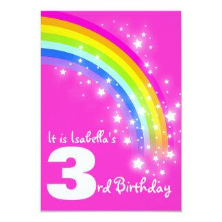 O aniversário do rosa do aniversário de 3 anos do convite 8.89 x 12.7cm