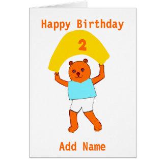 O aniversário do ursinho adiciona o nome da idade cartões