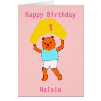 O aniversário do ursinho adiciona o nome da idade cartão comemorativo