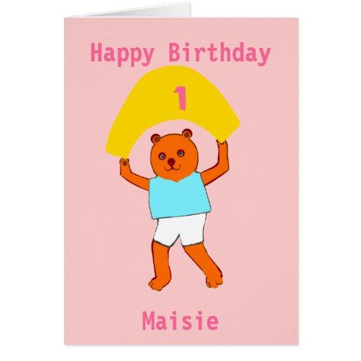 O aniversário do ursinho adiciona o nome da idade cartao